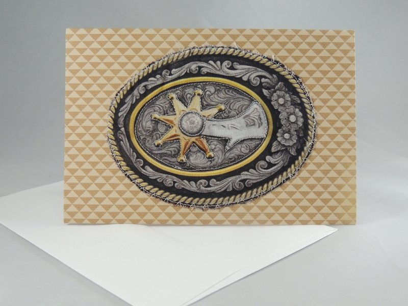 Western Spurs Belt Buckle Quilted Greeting Card