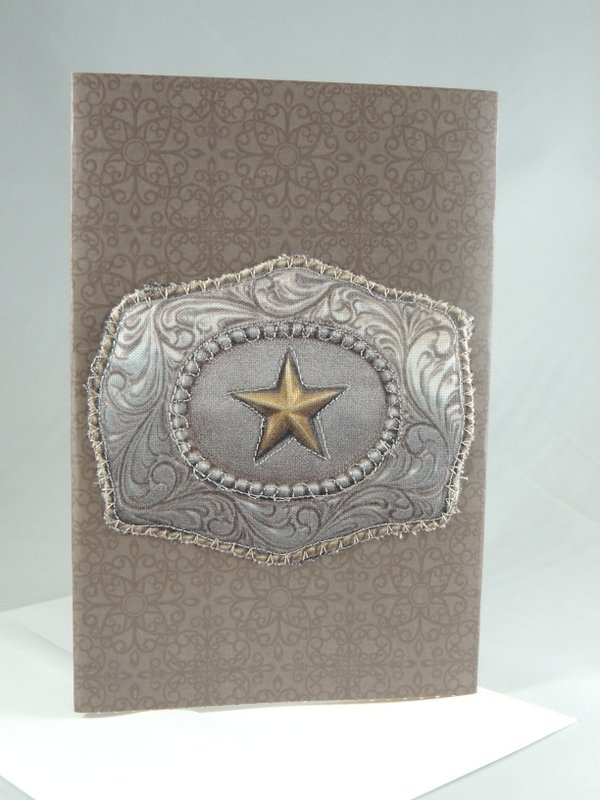 Western Star Belt Buckle Quilted Greeting Card