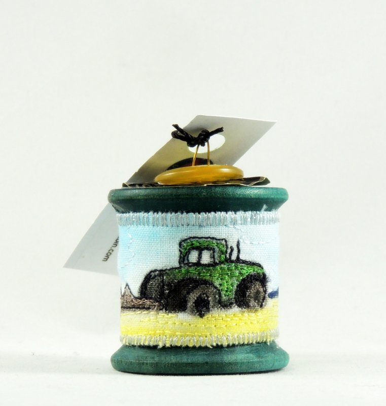 Tractor Thread Painted Wooden Spool Ornament