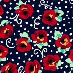 ADELINE STYLIZED TOSSED FLORAL NAVY