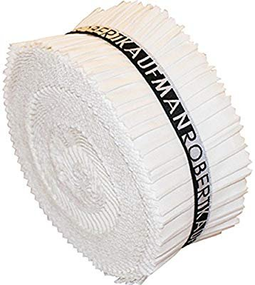 2-1/2 inch strips - Roll Up Kona Solids - White