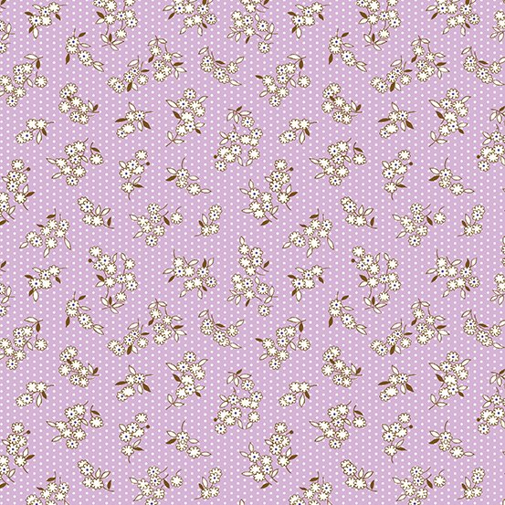 Lottie Ruth - Purple Tossed Flowers  - A-8782-P