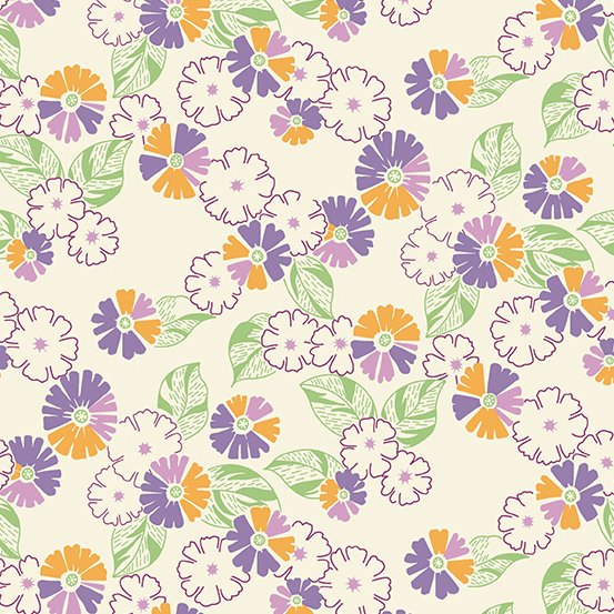 Darling Clementine A-9476-P-Flower Bunches OrangePurple