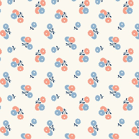 Darling Clementine A-9477-B-Biscuit Flowers Blue Pink