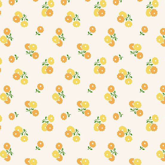 Darling Clementine A-9477-Y-Biscuit Flowers Orange Yellow