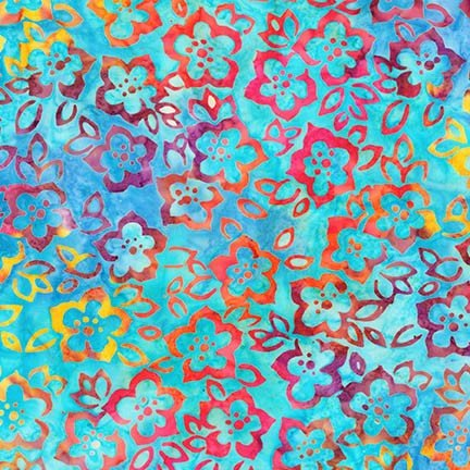 Artisan Batiks: Bright Blooms - Aqua