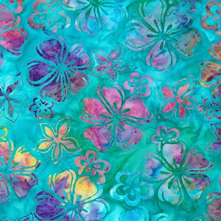 Artisan Batiks: Bright Blooms - Surf