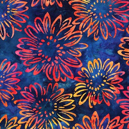 Artisan Batiks: Bright Blooms - Midnight