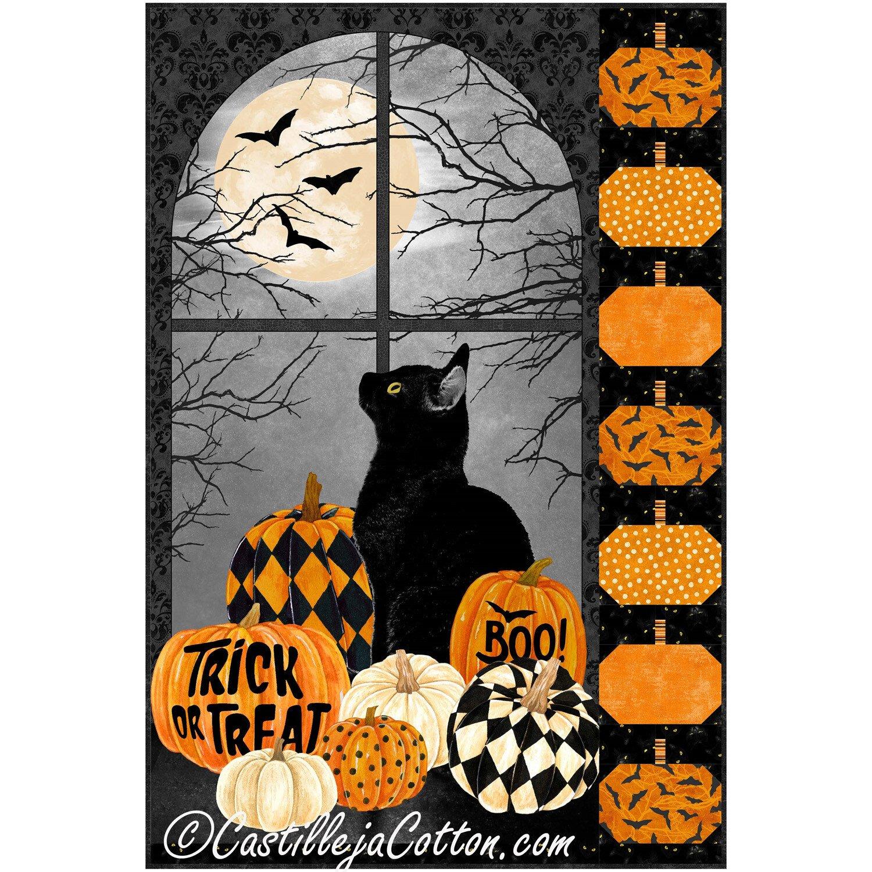 Black Cat and Pumpkins Kit in Black Cat Capers - 28 x 42