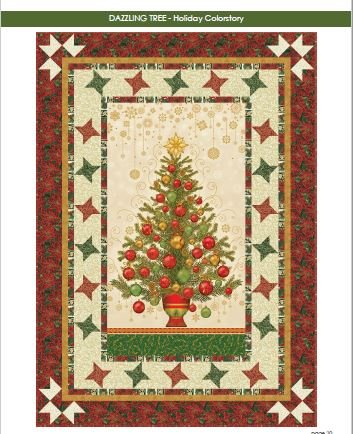 Dazzling Tree Quilt Kit (45 x 64) - Holiday (cream background) Colorway Holiday Flourish