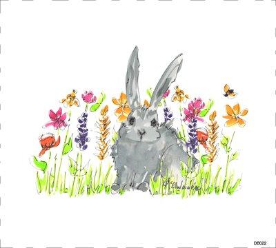 Bunny Flowers Quilt Block DE022