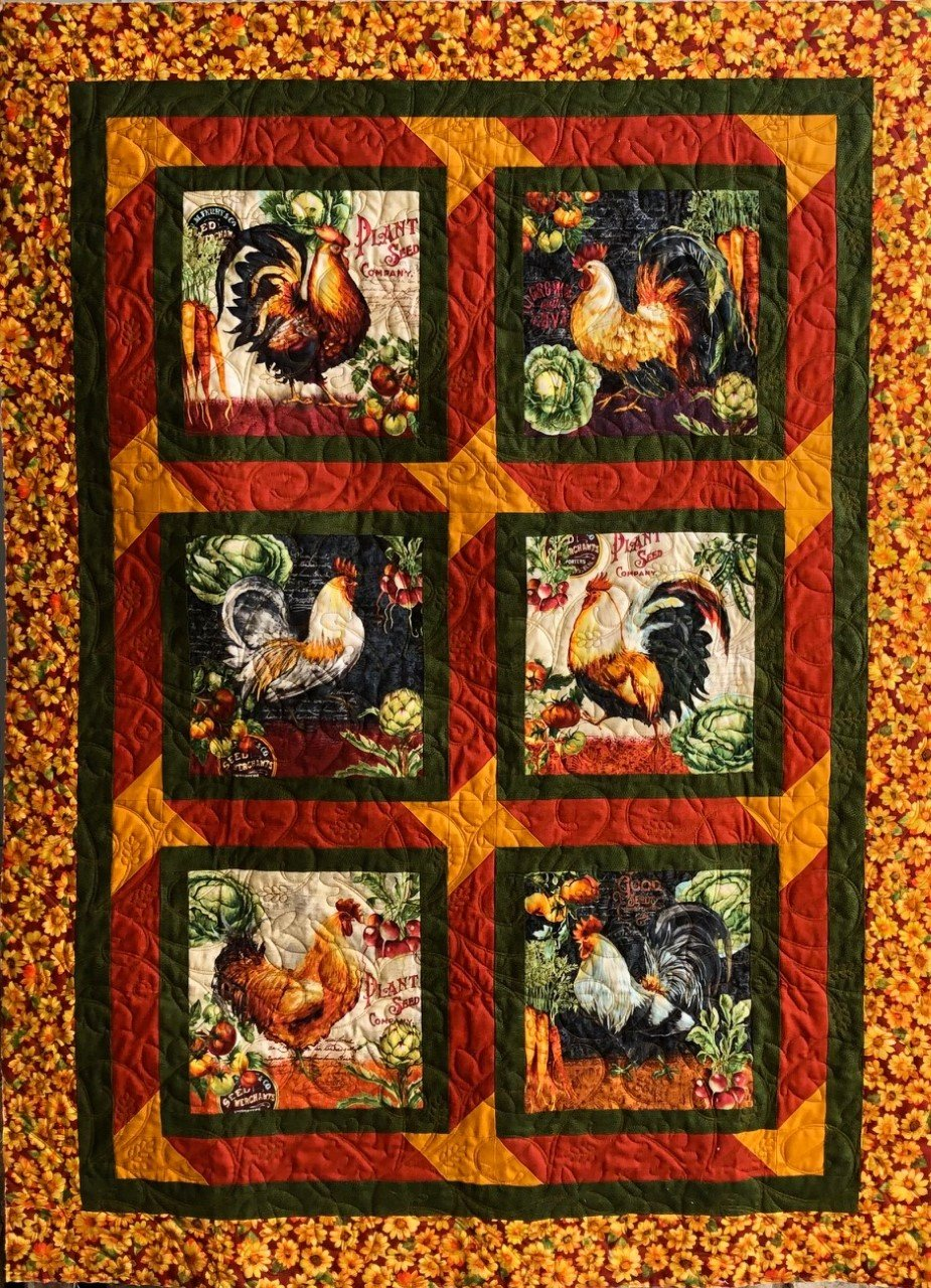 Easy Peasy Panel Quilt Kit - 39 x 52 - Farmer's Market Roosters