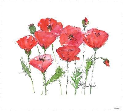 Red Poppy Quilt Block FL044