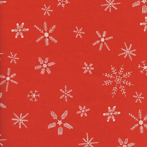 Flurry in Red UNBLEACHED QUILTING COTTON