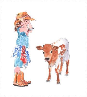 Girl and Calf Quilt Block PE013