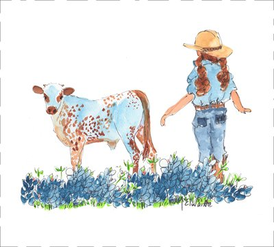 Girl and Calf -2 Quilt Block