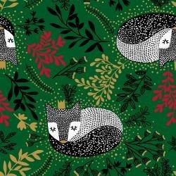 JM101-HO3M - Winter Dreams - Royal Fox - Holly Metallic Fabric