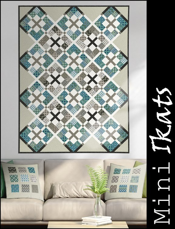 Mini Ikats Teal Quilt Kit - In The Beginning