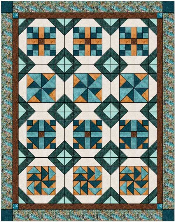 Possibilities Batik Turquoise/Brown Kit - Option 3 - 60 x 76