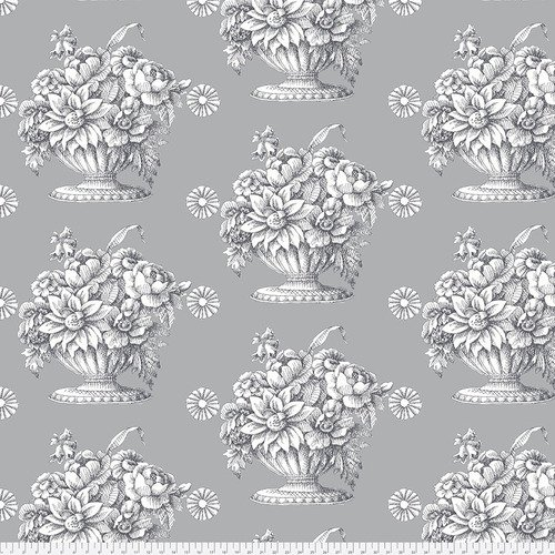 108 Backing Fabric - Stone Flower - Grey QBGP005.2GREY