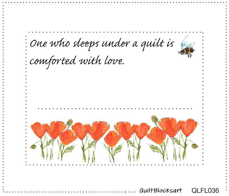 One Who Sleeps Quilt Block Label 4-1/2 x 3-1/2 -  QLFL036
