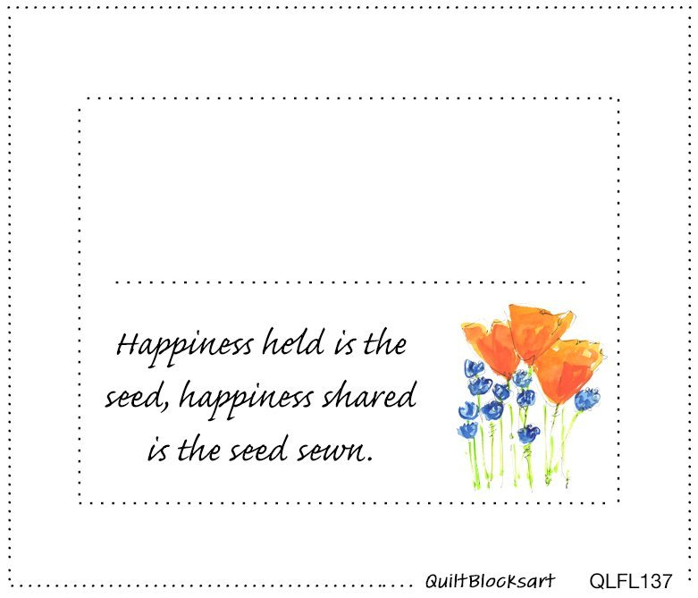 Happiness Held Quilt Block Label 4-1/2 x 3-1/2 - QLFL137