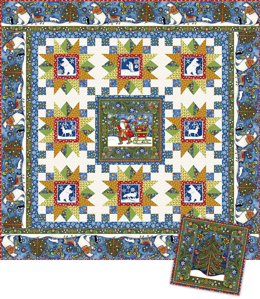 Snowy Kit by Julie Paschkis Quilt (81-1/2 x 81-1/2) and Pillow (21 x 21)