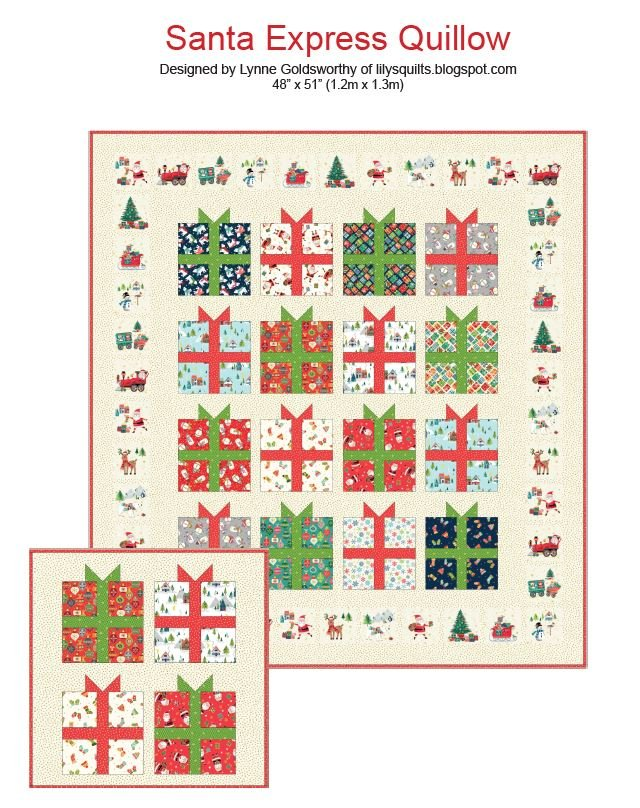 Santa Express Quillow Kit - 48 x 51 (includes pocket on back)