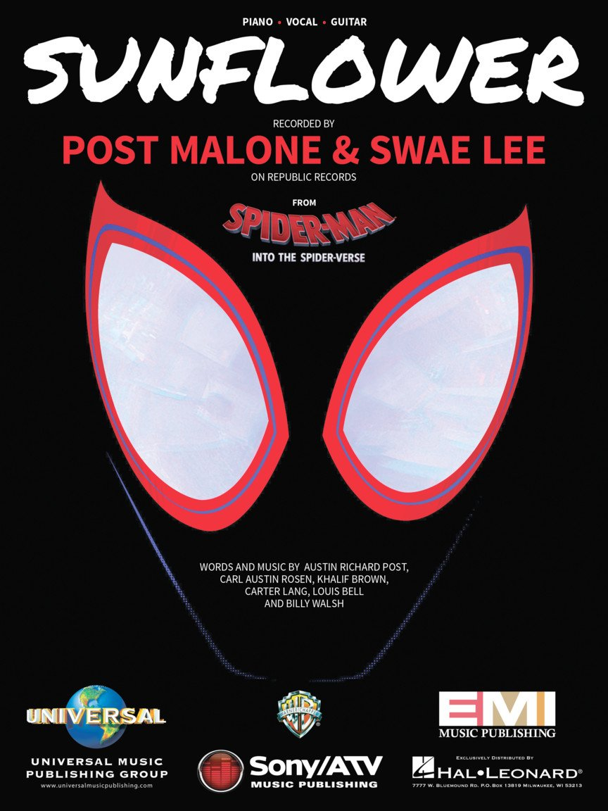 Sunflower from Spider-Man: into the Spider-Verse Piano Vocal Guitar