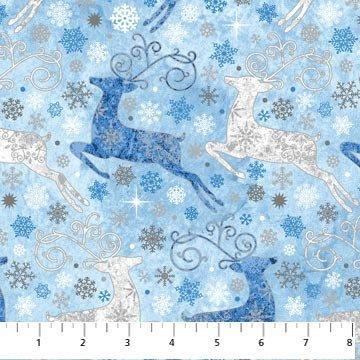 Stonehenge Starry Night Metallic - Reindeer Prance Blue