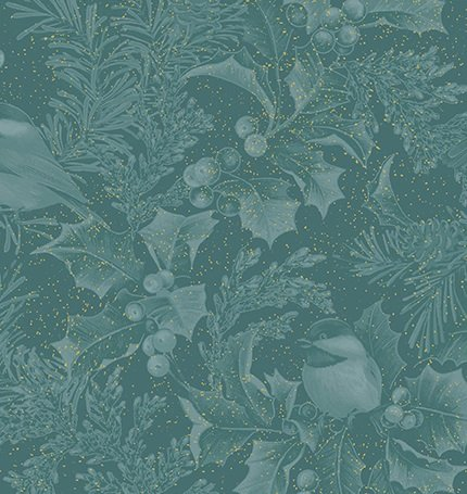 Chickadees & Holly Allover Teal