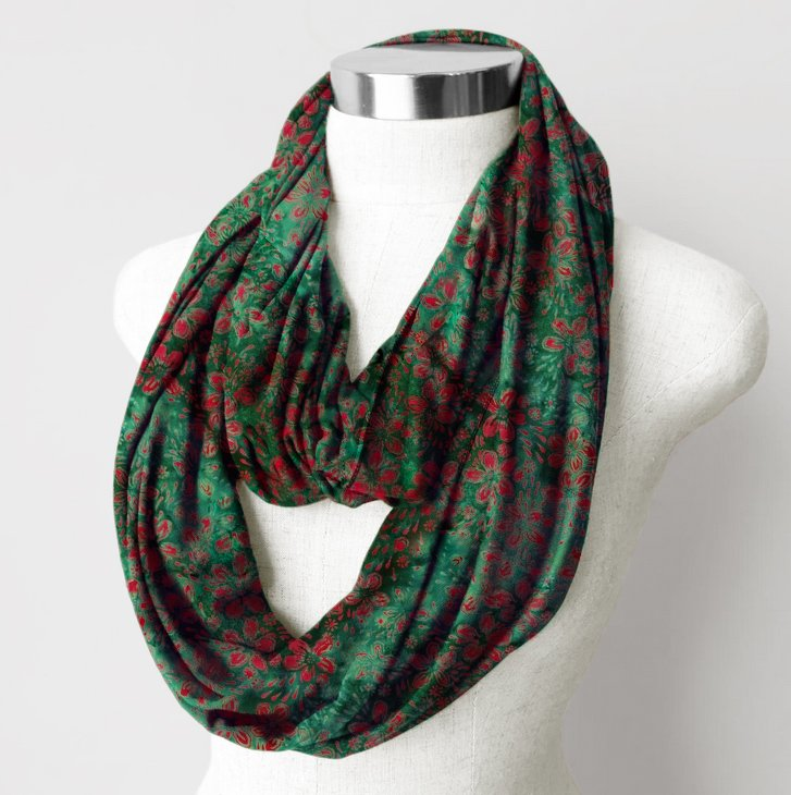 Batik Rayon Scarf, Red Floral on Green