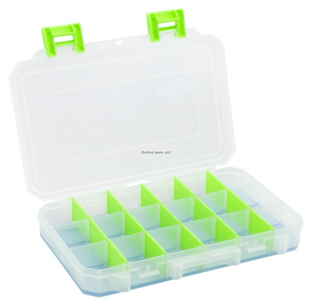 Lure Lock Medium Box - 3 Cavity w/ Ocean Blue Tak Logic Liner, Clear w/ Green Accent