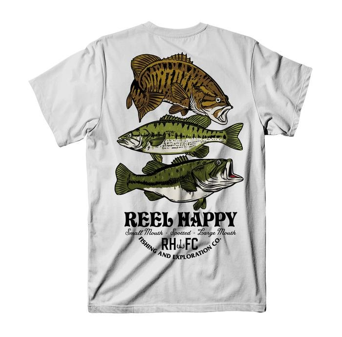 Reel Happy Bass Stack Pocket Tee- White