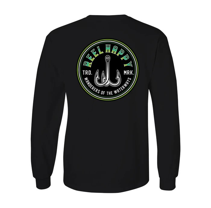 Reel Happy Treble Fade Long Sleeve T-Shirts Black