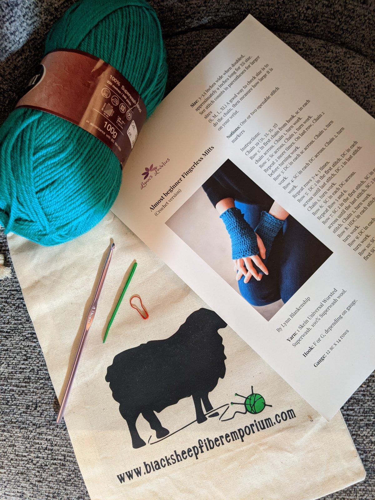 Beginner's Crochet Fingerless Gloves Kit