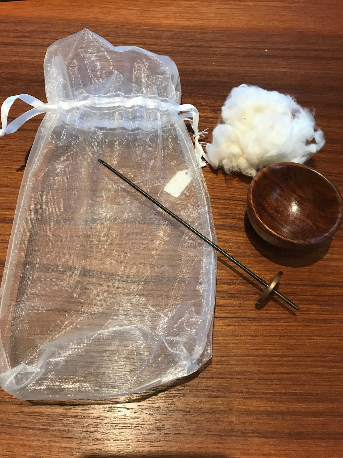 Tahkli Supported Spindle and Cotton