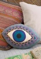 Natural Life Evil Eye Happy Pillow