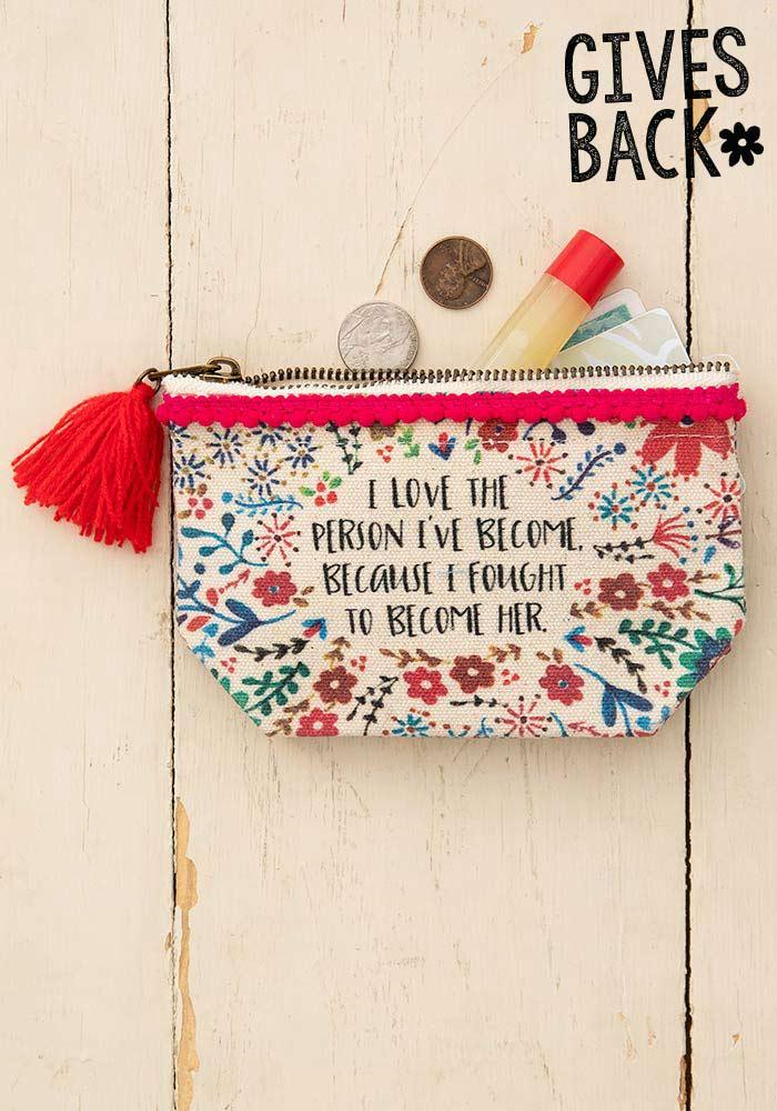Natural Life mini canvas pouch
