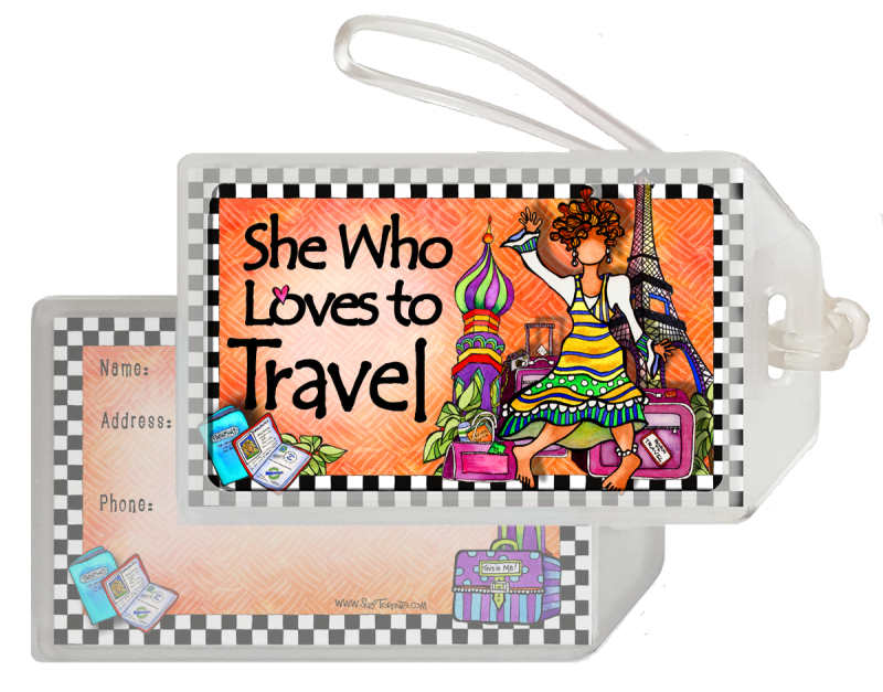 She Who Loves to Travel Bag Tag