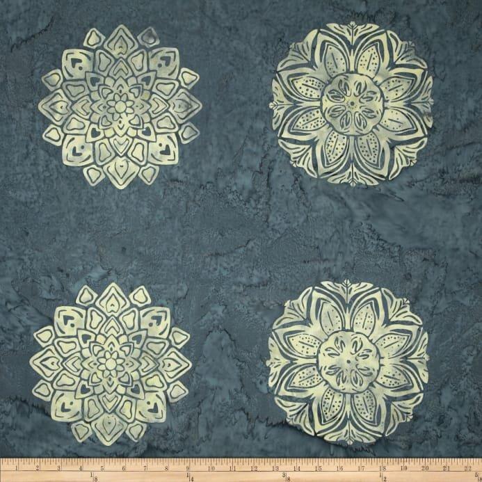 Hoffman Bali Batiks Handpaints Medallion Tile Smoke