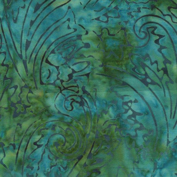 RJR-JB-Malam Batiks Lagoon - green paisley