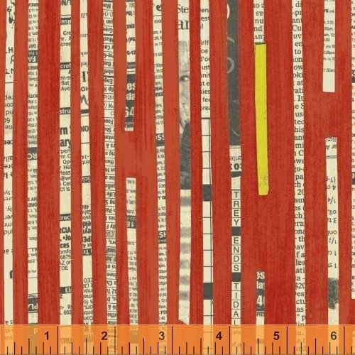 Collage - Windham - Red with Newsprint Strips