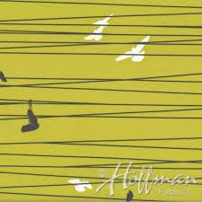 Hoffman Fabrics - Grafic - Sulfur - Birds on a Wire