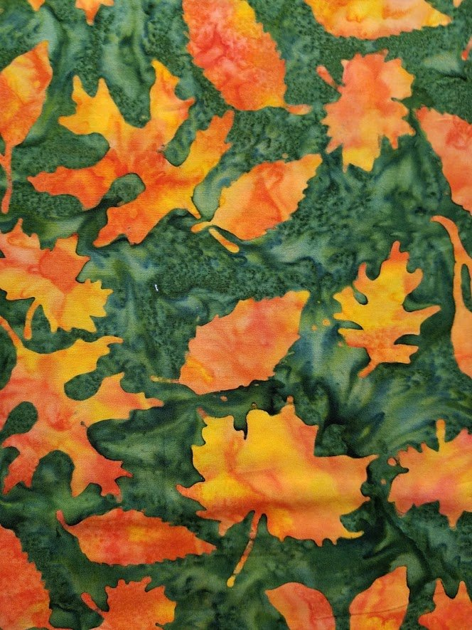 Batik - Green with Orange Leaves