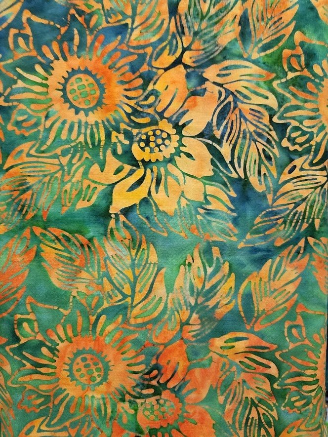 Batik - Green with Orange Sunflowers