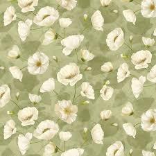 Poppy Celebration - Trailing Poppies Ivory/Green