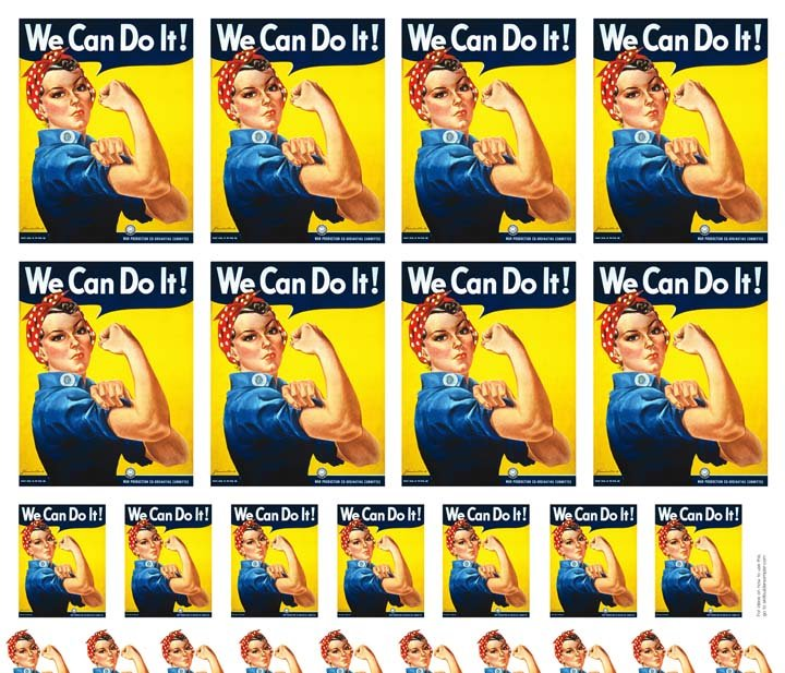 Rosie the Riveter - Multiple Sizes of 6 and 12 w/bonus face/arm sets