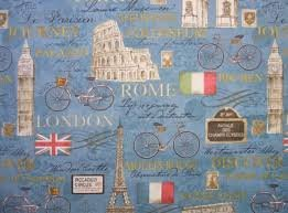 Wilmington Prints - Ticket in Hand - Blue large motif