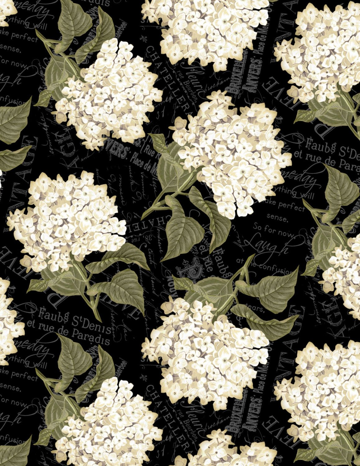Wilmington Prints - Vintage Garden - Black w/ Large Floral